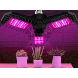 60 W - PROFI LED GROW žiarovka pre všetky rastliny s 3 ľahko nastaviteľnými časťami, E27, High-power+, ružová