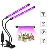 PROFI LED GROW trubicová lampa so zabudovaným časovačom a stmievačom pre všetky rastliny, 18W, dvojramenná